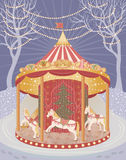 Carousel with Christmas horses royalty free stock image