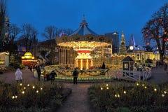 Carousel and Christmas illumination in Tivoli Gardens, Copenhagen, Denmark Royalty Free Stock Image