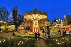 Carousel and christmas illumination in Tivoli Gardens, Copenhagen Royalty Free Stock Images