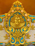 Carousel Design. Golden design on carousal at an amusement park stock images