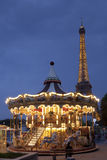 Carousel and the Eiffel tower Royalty Free Stock Images