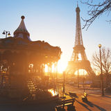 Carousel at Eiffel tower in Paris Stock Photo