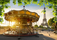 Carousel and  Eiffel tower Stock Photography