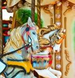 Carousel - Fair conceptual background with horses royalty free stock photos