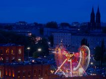 Carousel on the feast of Lodz. Stock Photo