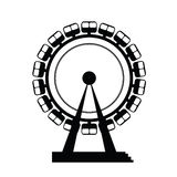Carousel and ferris wheel illustration. In black Royalty Free Stock Images