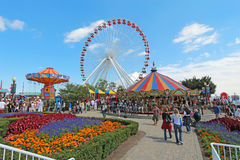 Carousel, ferris wheel and other rides at Navy Pier, Chicago; Royalty Free Stock Images