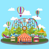 Carousel in flat design. Park circus, amusement and entertainment, carnival and wheel, vector illustration Stock Images