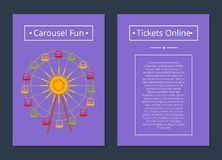 Carousel Fun Tickets Online Poster Ferris Wheel. Carousel fun tickets online poster with ferris wheel with color cabins vector illustration banner with place for Royalty Free Stock Images