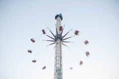 Carousel fun,toll carousel. High in the sky, minimalism. copy space Stock Photos