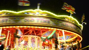 Carousel in a funfair stock video footage