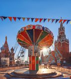 Carousel at the GUM fair on Red Square. New Year`s Fair. royalty free stock photos