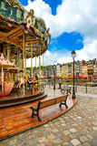 Carousel in Honfleur village landmark. Calvados region, Normandy, France Royalty Free Stock Photo