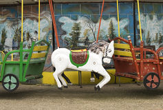 Carousel horse. Old carousel horse on painted background Royalty Free Stock Images