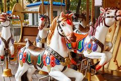 Carousel horse in amusement park without people Royalty Free Stock Image
