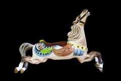 Carousel horse Nareena Burnaby Village Museum on black background. Nareena - horse number 12 on the C W Parker Carousel at the Burnaby Village Museum Royalty Free Stock Photography