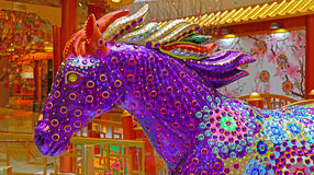Carousel horse. Close up of colorful carousel horse decorated with crystals Stock Image
