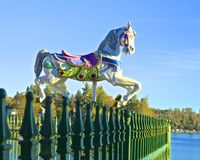 Carousel horse. Colorful carousel horse advertising the fun activities at the park on Lake Arrowhead California Stock Images