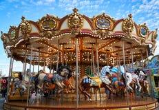 Carousel details in amusement park stock image