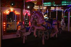 Carousel horse evening stock photos