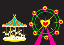 Carousel horse and Ferris wheel of love. Carousel and Ferris wheel of love vector illustration Royalty Free Stock Photos