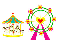 Carousel horse and Ferris wheel of love on white Background. Carousel and Ferris wheel of love vector illustration on white Background Stock Photos
