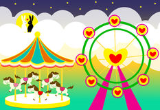 Carousel horse and Ferris wheel of love on white Background Royalty Free Stock Photo