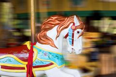 Carousel Horse Motion. A white carousel horse in motion Royalty Free Stock Photos