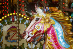 Carousel horse. Traditional fairground carousel horse in a themepark Stock Photography