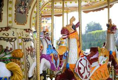 Carousel horse with traditional paintwork Royalty Free Stock Photography