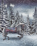 Carousel horse in the winter forest Royalty Free Stock Photo