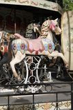 Carousel horse in wood. Antique pony paintings Stock Images