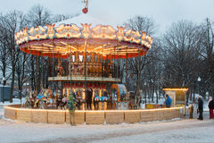 Carousel with horses in Central Park of Culture Royalty Free Stock Photography