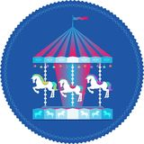 Carousel with horses colorful icon royalty free illustration