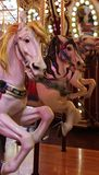 Carousel Horses. Detail of carousel horses at a vintage amusement ride in Seattle, Washington stock image