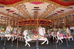 Carousel horses. Empty carousel merry go round park attraction Royalty Free Stock Photo