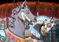 Carousel horses. At a merry go round. This close up shows the old vintage horses heads royalty free stock photos