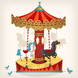 Carousel with horses. Traditional funfair amusement horse ride vector illustration Stock Photography