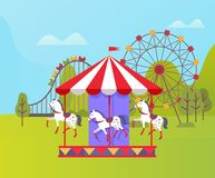 Amusement Park, Ferris Wheel and Carousel Nature. Carousel with horses vector, spinning ferris wheel, amusement park for relaxation. Weekend time, natural stock illustration
