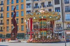 Carousel inside the Valencia train station. Valencia, Spain royalty free stock photography
