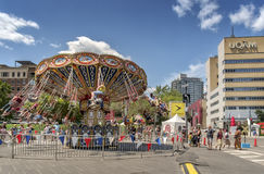 Carousel just for laughs festival. Just for Laughs (French: Juste pour rire) is a comedy festival held each July in Montreal, Quebec, Canada. Founded in 1983, it stock photos