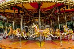Carousel konie, Keswick, Cumbria, Anglia Obrazy Stock