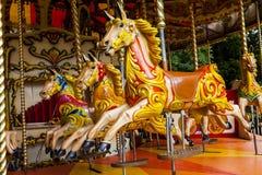 Carousel konie, Keswick, Cumbria, Anglia Obraz Stock
