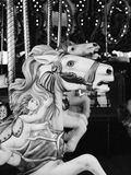 Carousel konie w czarny i biały Obraz Royalty Free