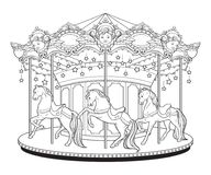 Carousel cute merry go round with horses coloring book pages for kids and adults hand drawn vector illustration.  Stock Image
