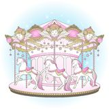 Carousel cute merry go round with horses design for kids in pastel colors hand drawn vector illustration.  Stock Photography