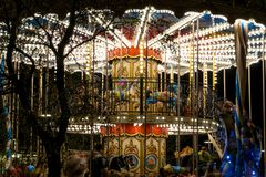 Carousel lighted on the night of the city Royalty Free Stock Image