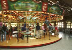 Carousel merry-go-round. In motion Stock Images