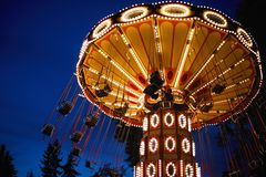 Free Carousel Merry-go-round In Amusement Park At A Night City Stock Photography - 162906452