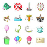 Carousel, mknący pasmo, obruszenia, cottonwool i inny, atrybuty Park Rozrywki ustalone inkasowe ikony w kreskówka stylu Obrazy Royalty Free